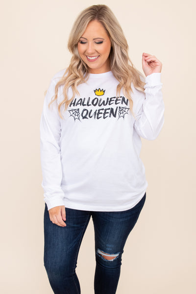 top, Halloween, graphic, white, long sleeve, figure flattering, tee, round neck