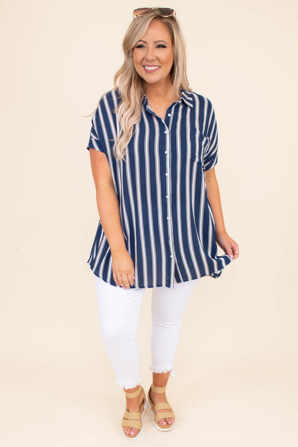 shirt, blouse, short sleeve, button up, stripe, blue, ivory, loose, comfy