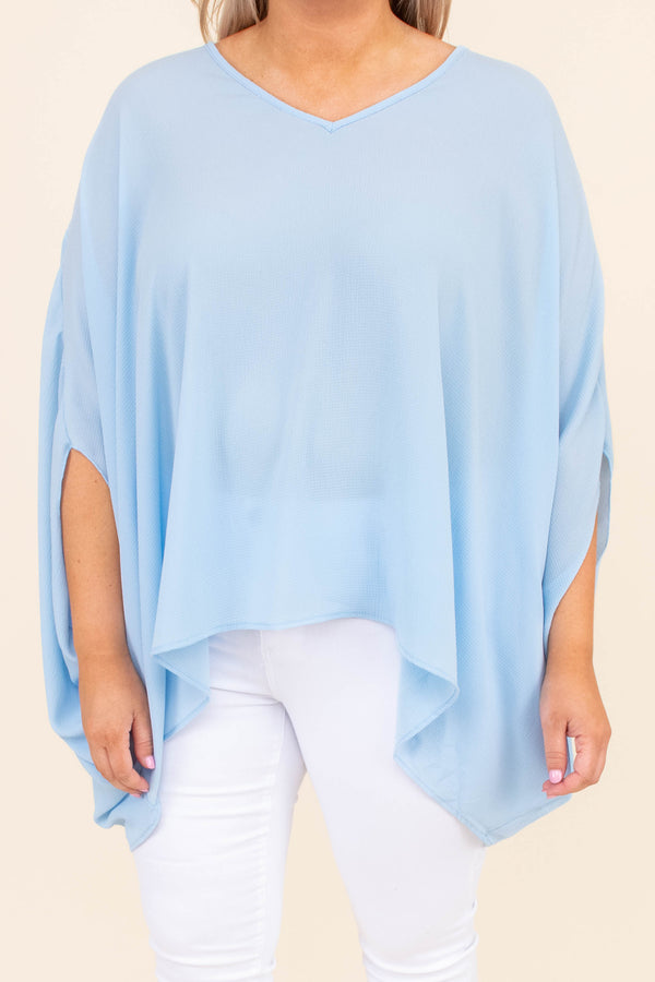 shirt, v neck, short sleeve, loose, comfy, curved hem, pale blue, summer, spring