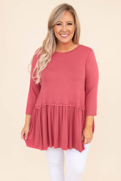 shirt, three quarter sleeve, babydoll, rose, pink, loose, comfy, long