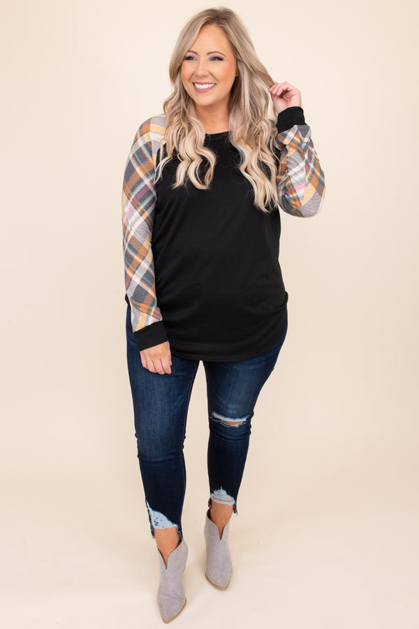 top, sweater, black, plaid, long sleeve, orange, white