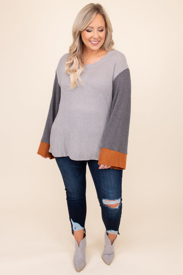 top, casual top, grey, orange, colorblock, bell sleeve, fall, winter