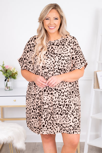 dress, short dress, above the knee, short sleeve, loose, comfy, leopard, cream, black