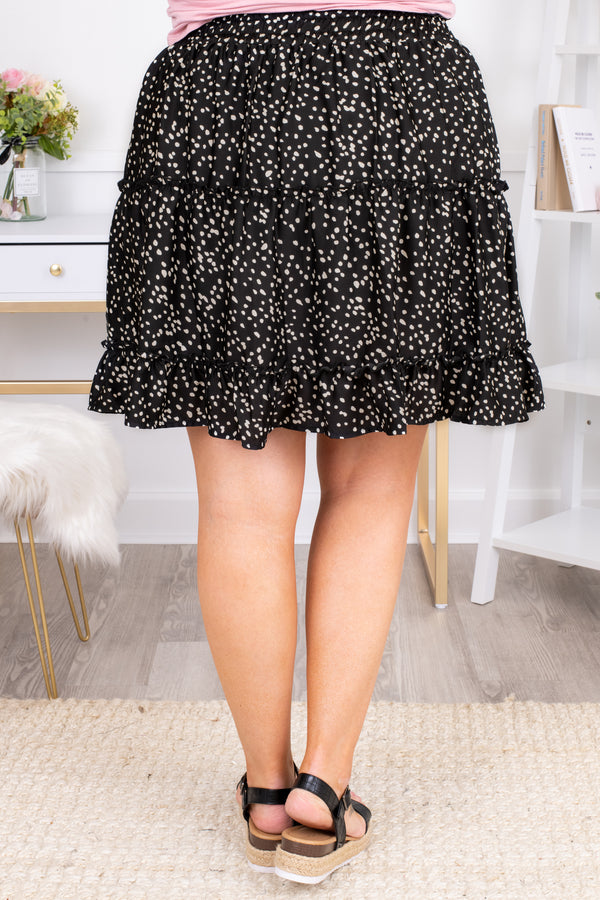 skirt, knee length, dotted, black, elastic waistband, loose, comfy