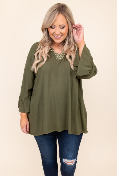 top, casual top, green, embroidered, bell sleeve, olive, v neck, ruffle sleeve