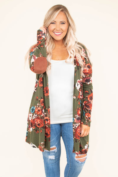 cardigan, long sleeve, elbow patches, long, flowy, olive, floral, white, red, blue, comfy