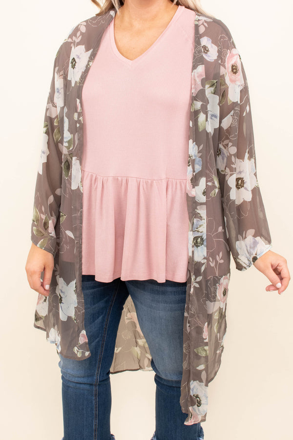 kimono, long sleeve, long, flowy, sheer, bell sleeves, gray, floral, white, green, black, spring, summer