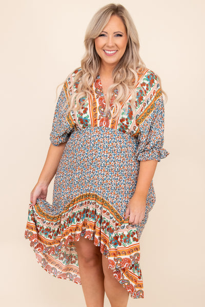 dress, short sleeve, print, floral, flowy, babydoll, midi, cream, colorful, figure flattering