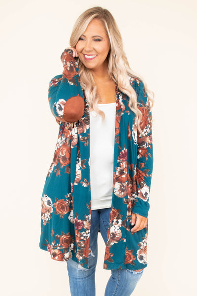 cardigan, long sleeve, elbow patches, long, flowy, teal, floral, white, brown,  comfy