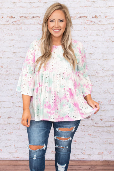 top, casual, tie dye, mid sleeve, flowy, pink, blue, white,