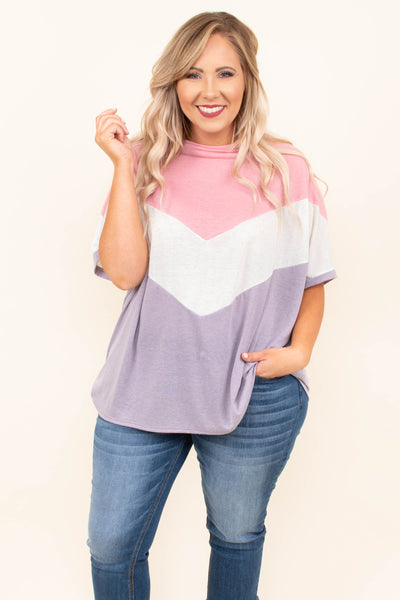 tunic, short sleeve, flowy, pink, white, lavender, colorblock, chevron, comfy