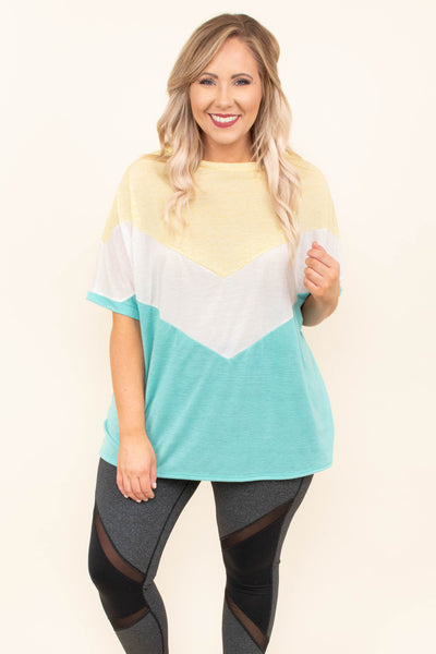 tunic, short sleeve, flowy, yellow, white, seafoam, colorblock, chevron, comfy