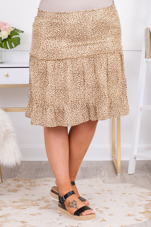 skirt, knee length, leopard, natural, beige, brown, loose, comfy, elastic waistband
