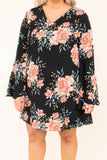 dress, short, long sleeve, bell sleeves, vneck, flowy, black, floral, pink, green, comfy, fall, winter