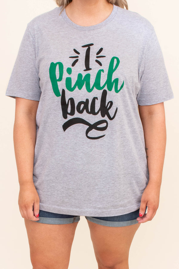 tshirt, short sleeve, long, loose, comfy, gray, graphic, i pinch back, black, green