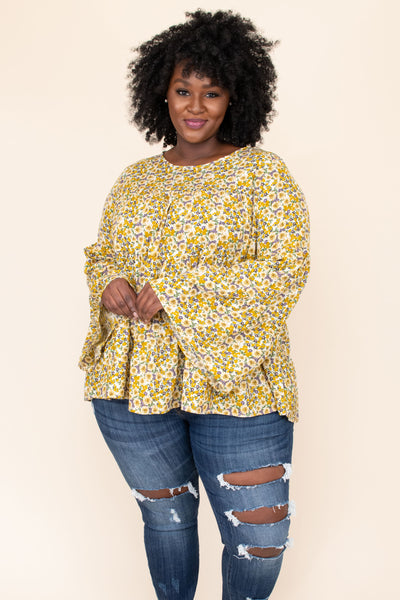 top, blouse, mustard, pattern, floral, yellow, green, long sleeve, flowy, comfy, spring, cute