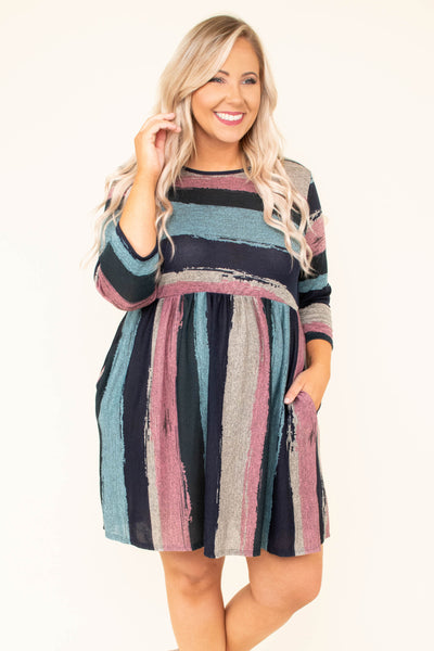 Lunch Date Dress, Navy-Mint