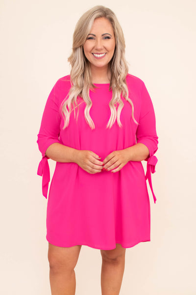 dress, short, three quarter sleeve, tie cuff, curved hem, flowy, fuchsia, comfy