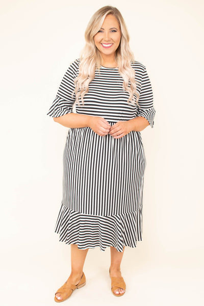 dress, ruffle hem, three quarter sleeve, midi, black, ivory, stripe