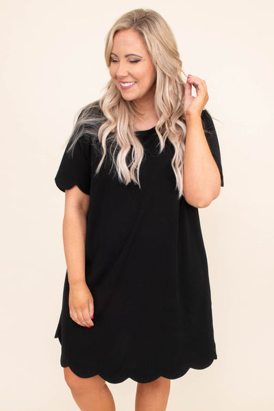 dress, short, short sleeve, scalloped hems, loose, black, comfy