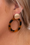 earrings, hanging, circles, gold, tortoise shell