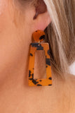 earrings, dangly, rectangle, circle, tortoise shell, orange