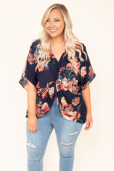 Bungalow Babe Blouse, Navy