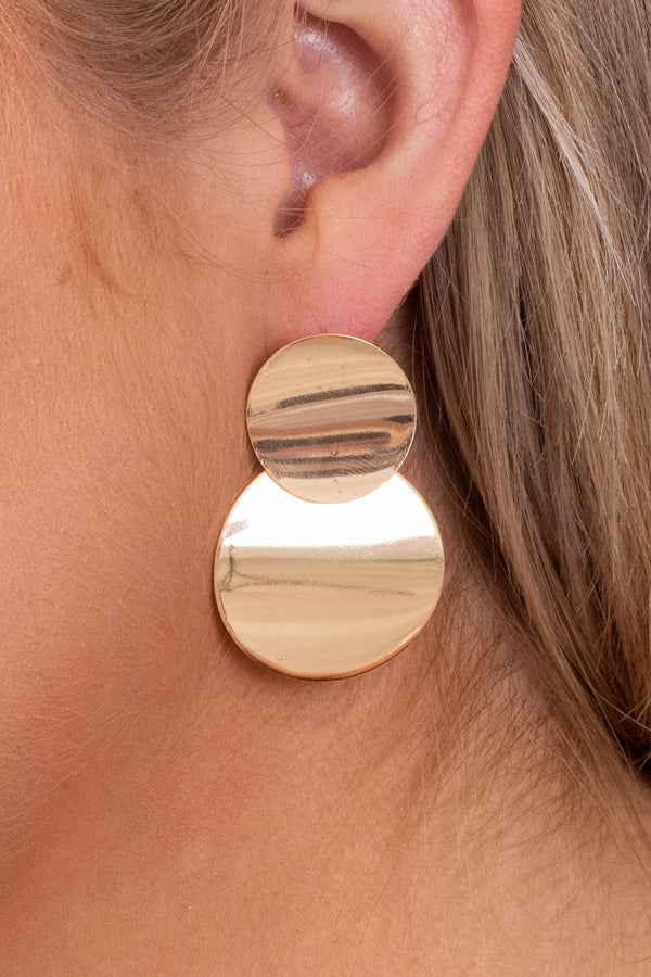 earrings, gold, hanging, circles, two circles, simple