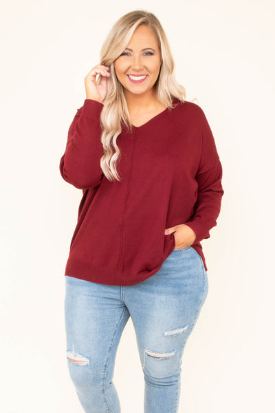 Effortless Style Sweater, Burgundy