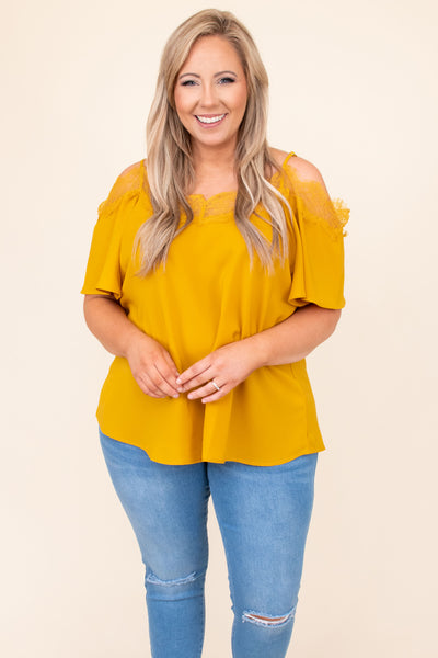 top, shirt, blouse, mustard, yellow, lace, short sleeve, cold shoulder