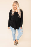 top, basic top, black, solid, vneck, long sleeve, comfy, casual, layer