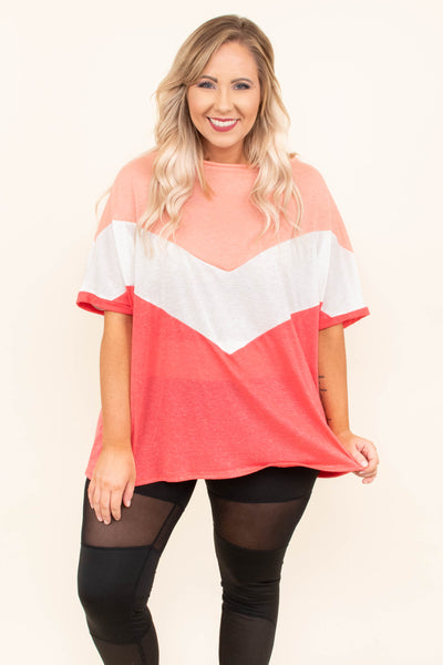tunic, short sleeve, flowy, peach, white, red, colorblock, chevron, comfy