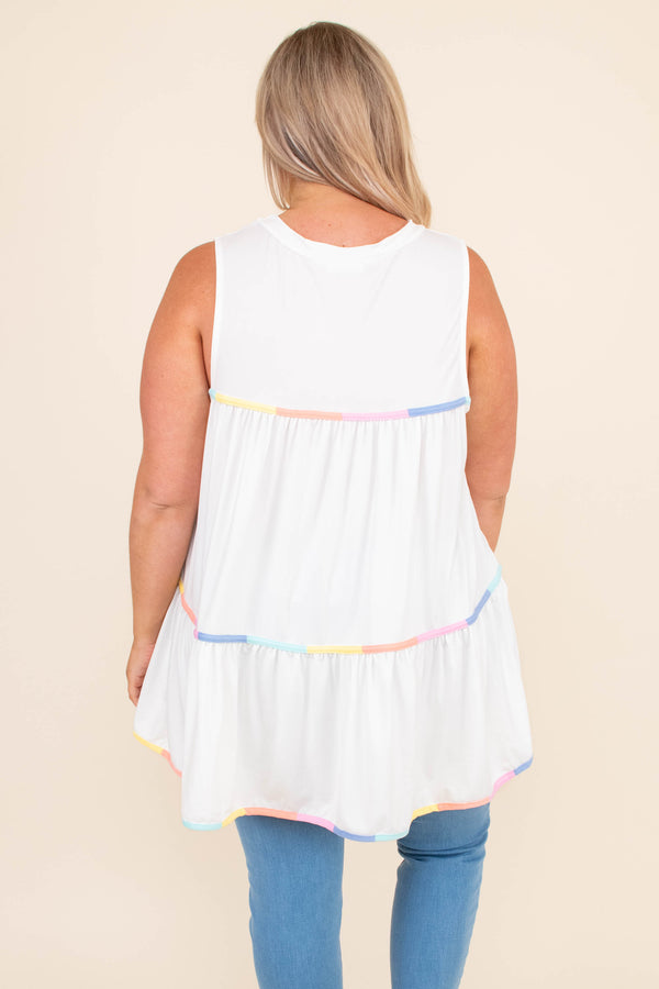 shirt, sleeveless, babydoll, colorful stripes, off white, loose, comfy, spring, summer