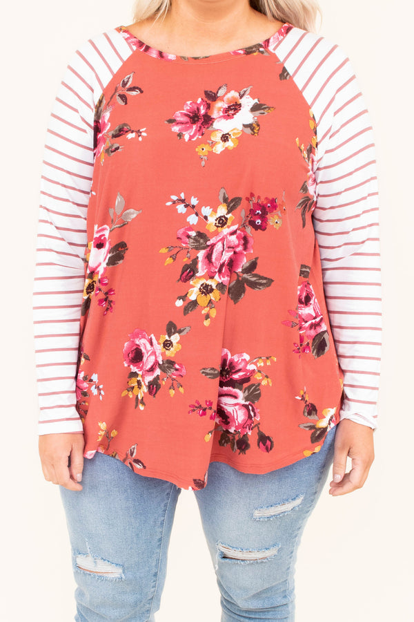 shirt, long sleeve, curved hem, elbow patches, rust, floral, pink, green, mustard, striped sleeves, flowy, comfy