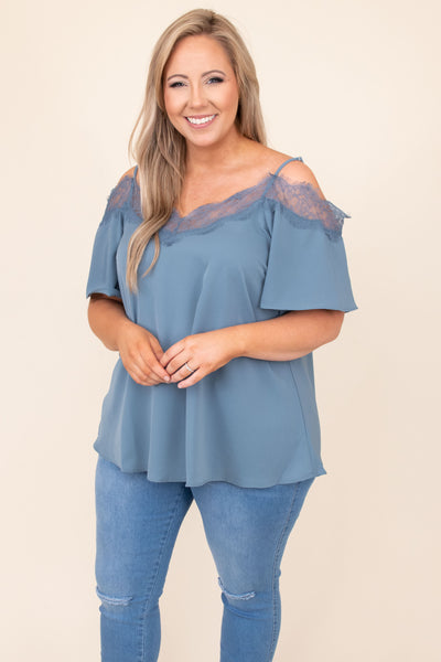 top, casual, blue, spaghetti strap, off the shoulder, short sleeve, flowy, comfy, summer, spring. lace
