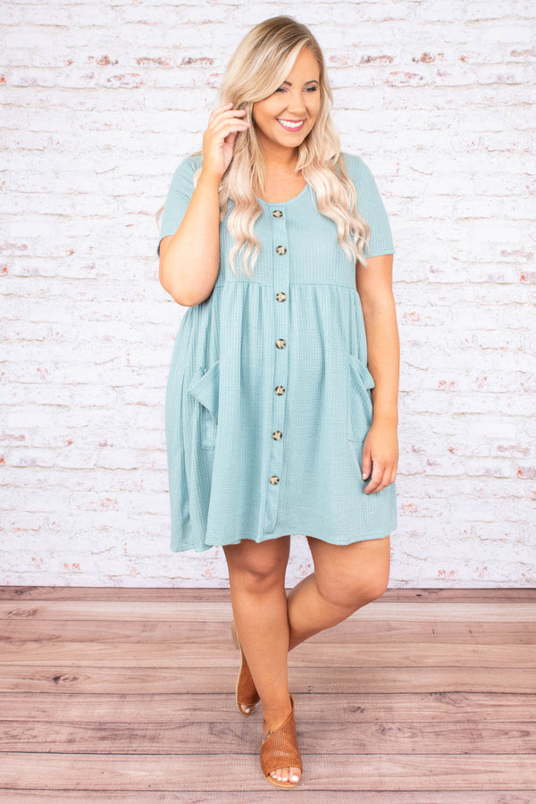 Never Underrated Dress, Dusty Mint