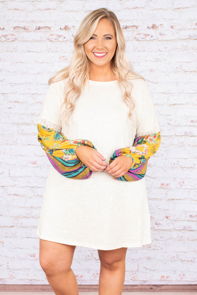 dress, long sleeve, bubble sleeves, flowy, white, printed sleeves, yellow, blue, purple, comfy, spring, summer