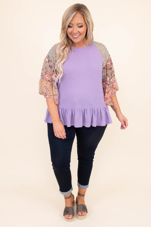 top, shirt, threee quarter sleeve, dropped baby doll, waffle knit, color block sleeves, multi patterned, lavender