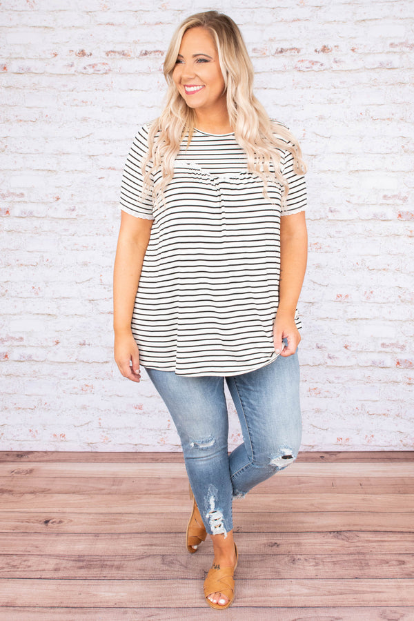 top, short sleeve, flowy, white, black stripe, pleating detail