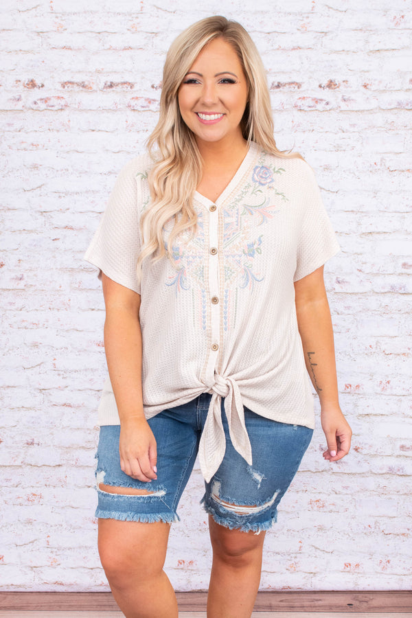 shirt, short sleeve, v neck, button front, tie top, taupe, embroidery, loose, comfy