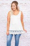 shirt, sleeveless, scoop neck, flowy, lace hem, comfy, spring, summer, layer, white