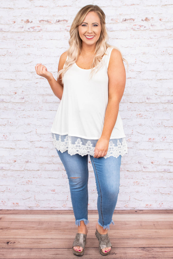 shirt, sleeveless, long, lace hem, scoop neck, loose, white, comfy, spring, summer