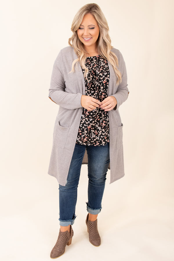 cardigan, pockets, long sleeve, open front, long, above the knee