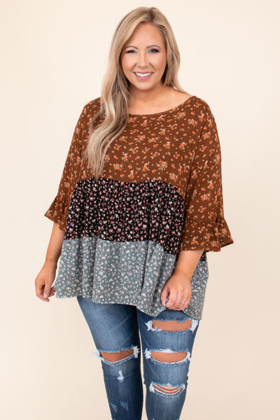 top, shirt, blouse, brown, colorblock, three quarter sleeve, floral, navy, blue