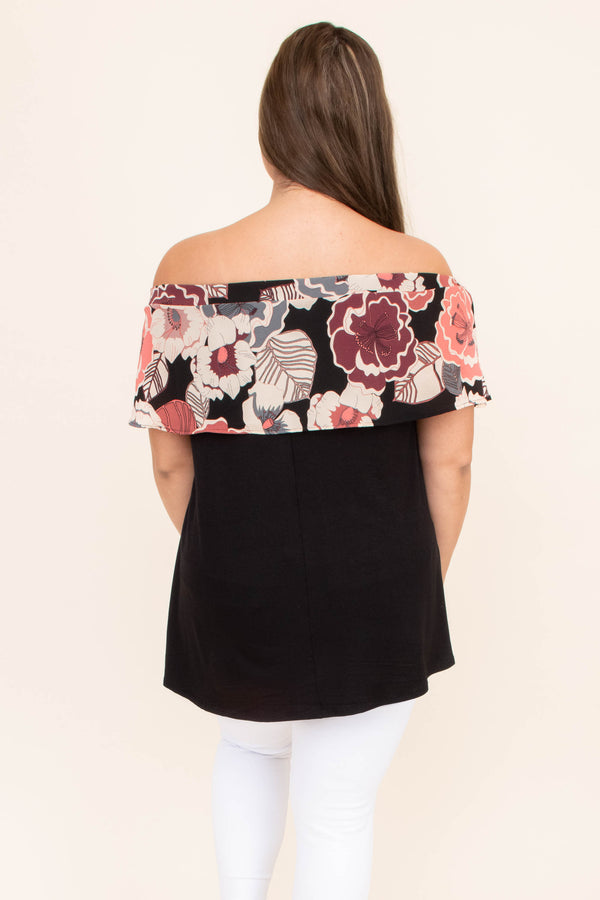 shirt, short sleeve, off the shoulder, ruffle top, long, flowy, comfy, black, floral, pink, mauve, white, gray, spring, summer