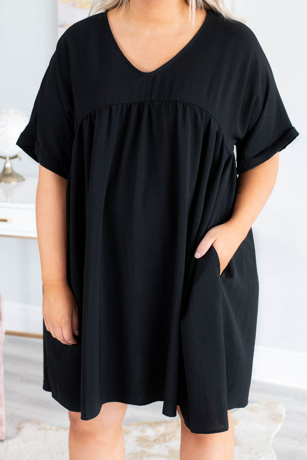 dress, short, short sleeve, vneck, babydoll, flowy, pockets, black, comfy