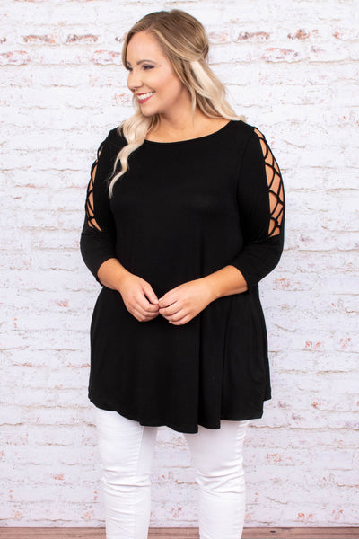 top, tunic, black, three quarter sleeve, flowy, open sleeve with criss cross detail