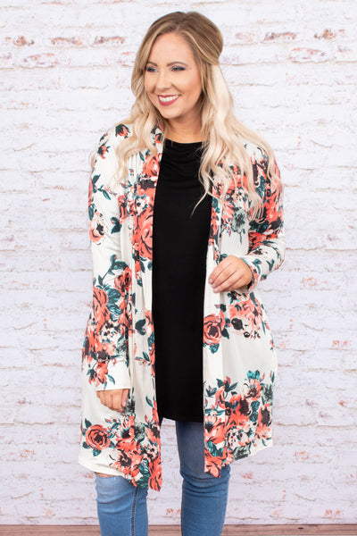 cardigan, long sleeve, long, flowy, white, floral, blue, pink, green, comfy
