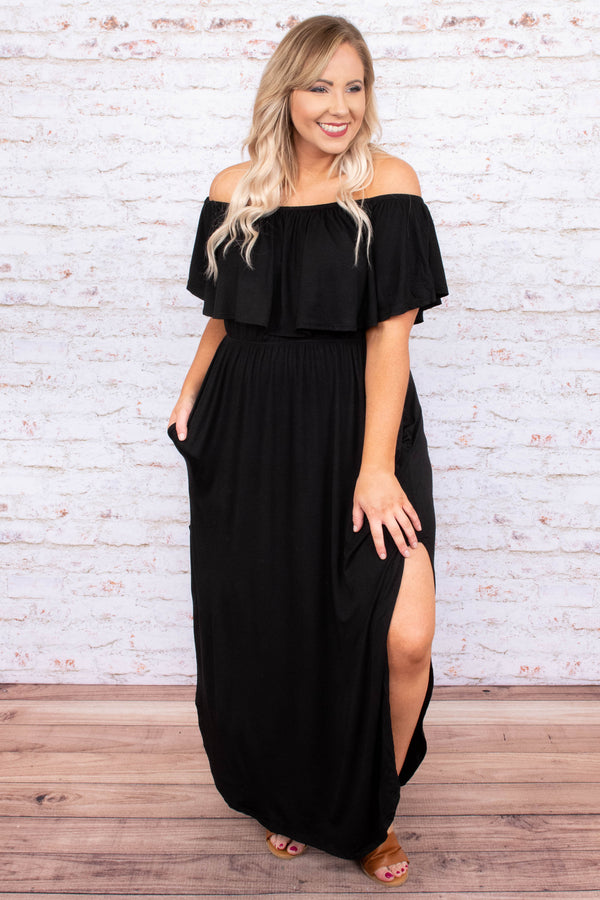 dress, maxi, off the shoulder, pockets, ruffle top, flowy skirt, high slit, black, solid, comfy