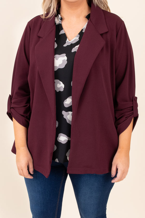 top, coat, jacket, red, solid, three quarter sleeve, blazer
